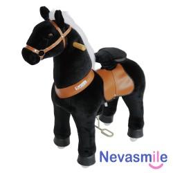Pony zwart met witte manen...