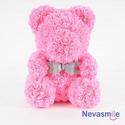 Roze teddybeer met rozen...