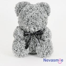 Grijze teddybeer met rozen...