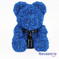 Blauwe teddybeer met rozen...