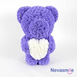 Teddybeer met paarse rozen...