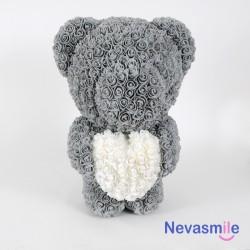 Teddybeer met grijze rozen...