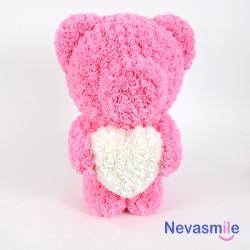 Teddybeer met roze rozen en...