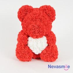 Rode teddybeer met rozen en...