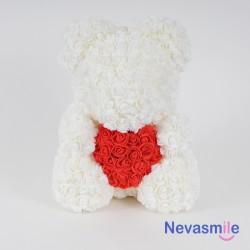 Witte teddybeer met rozen...