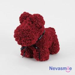Petit chien en roses rouge...