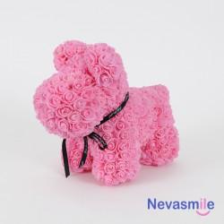 Hondje bedekt met roze...