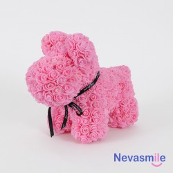 Petit chien en roses rose -...