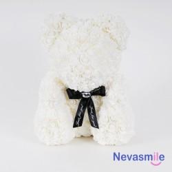 Witte teddybeer met rozen -...