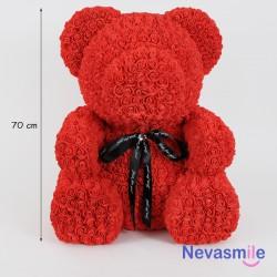 Rode teddybeer met rozen -...