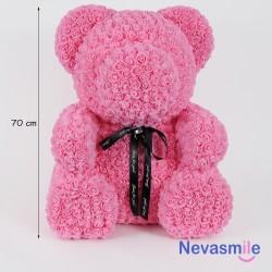 Roze teddybeer met rozen -...