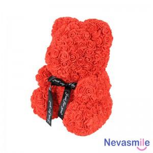 Ours en Roses artificielles avec boite en divers teintes